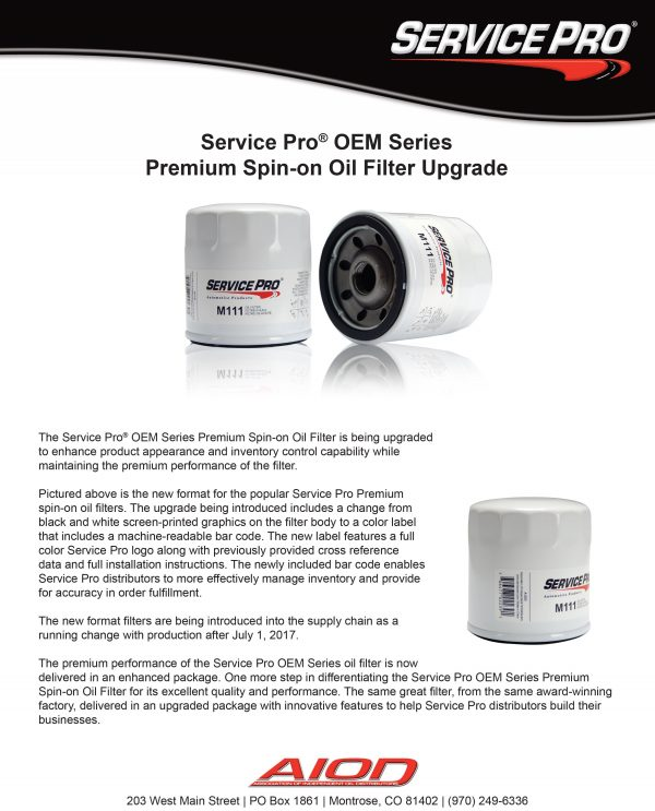 Service Pro Oil Filters (By Wix#)
